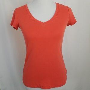J Crew Factory V-Neck Top size Small Orange TShirt